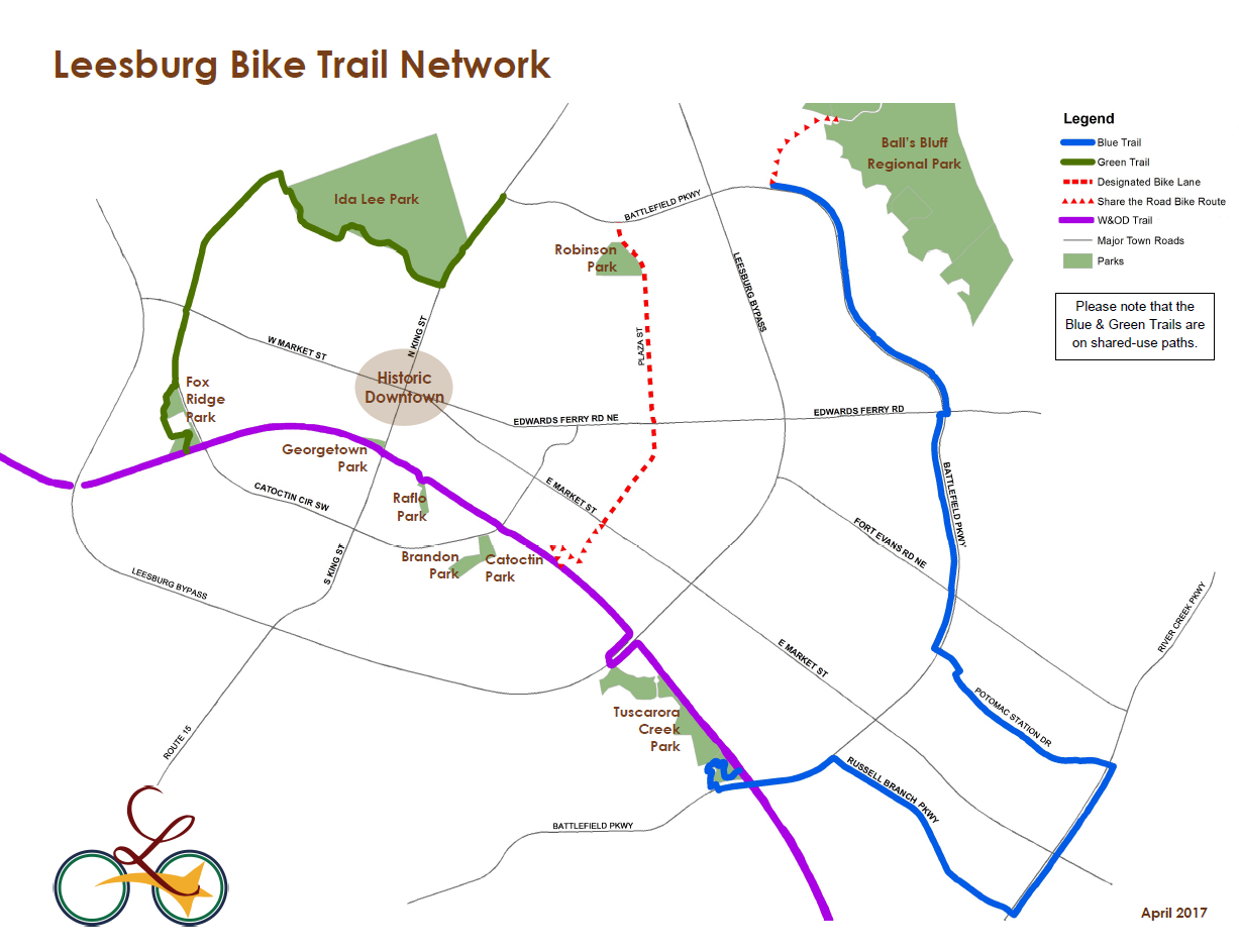 Leesburg Bike Trail Network map