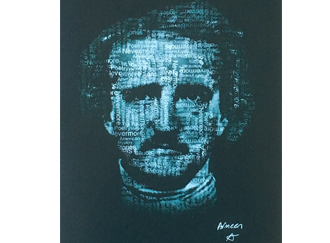 Graphic art portrait of Edgar Allan Poe