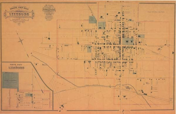 1878 Gray's New Map of Leesburg