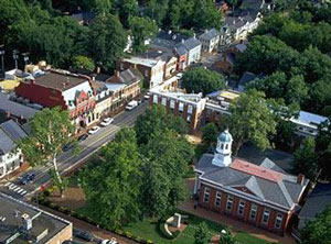 Aerial view of downtown Leesburg