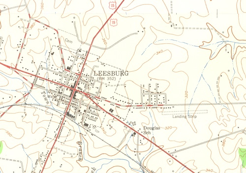 1952 USGS map of Leesburg