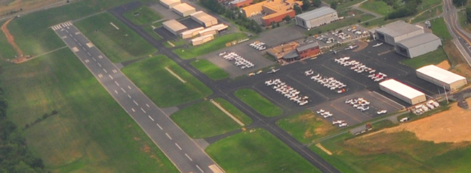 Aerial view of Leesburg Executive Airport