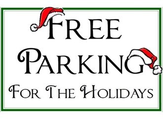 free holiday parking sign