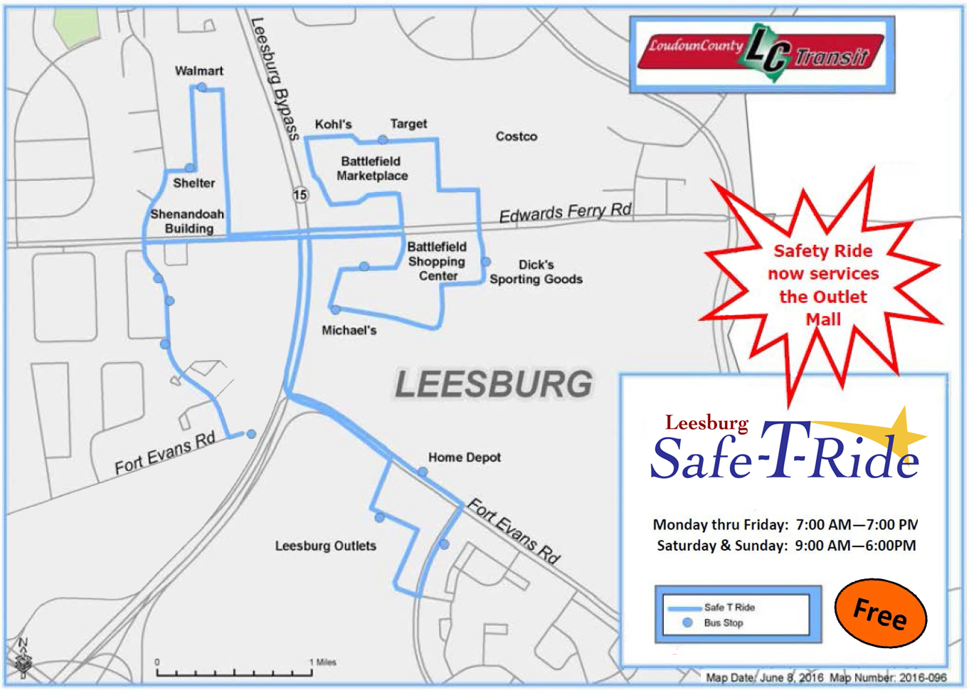 Safe-T-Ride route map 2016