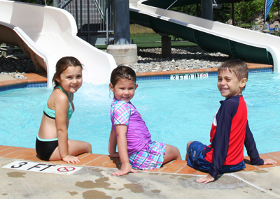 Kids at the outdoor pool