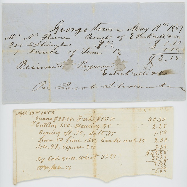Barrel of lime receipt, 1857; Guano and fish receipt, 1856