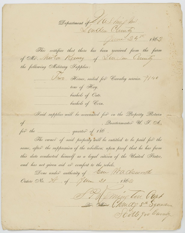 Union Military Supplies Receipt for two horses from Newton Keene