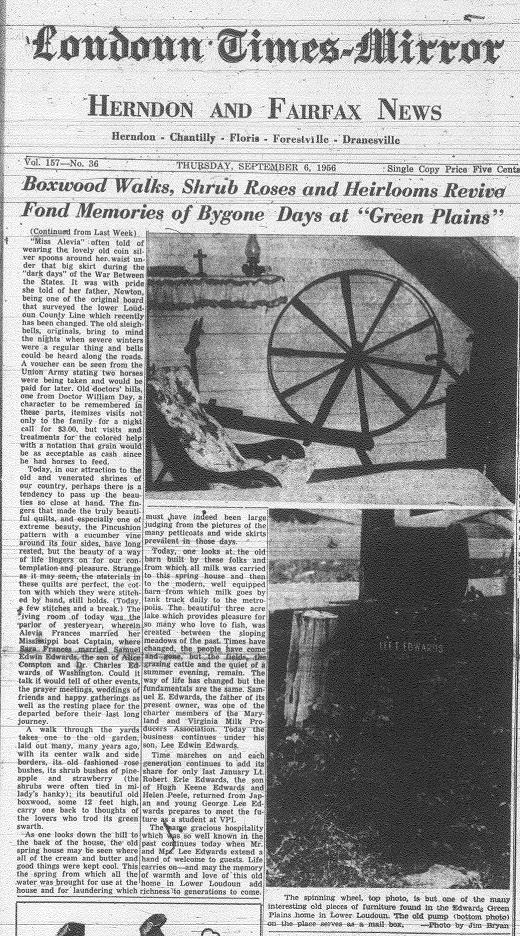 "Write-Up about Green Plains/Photocopy of Newspaper Articles- ""Green Plains"", 1956; Part 2"