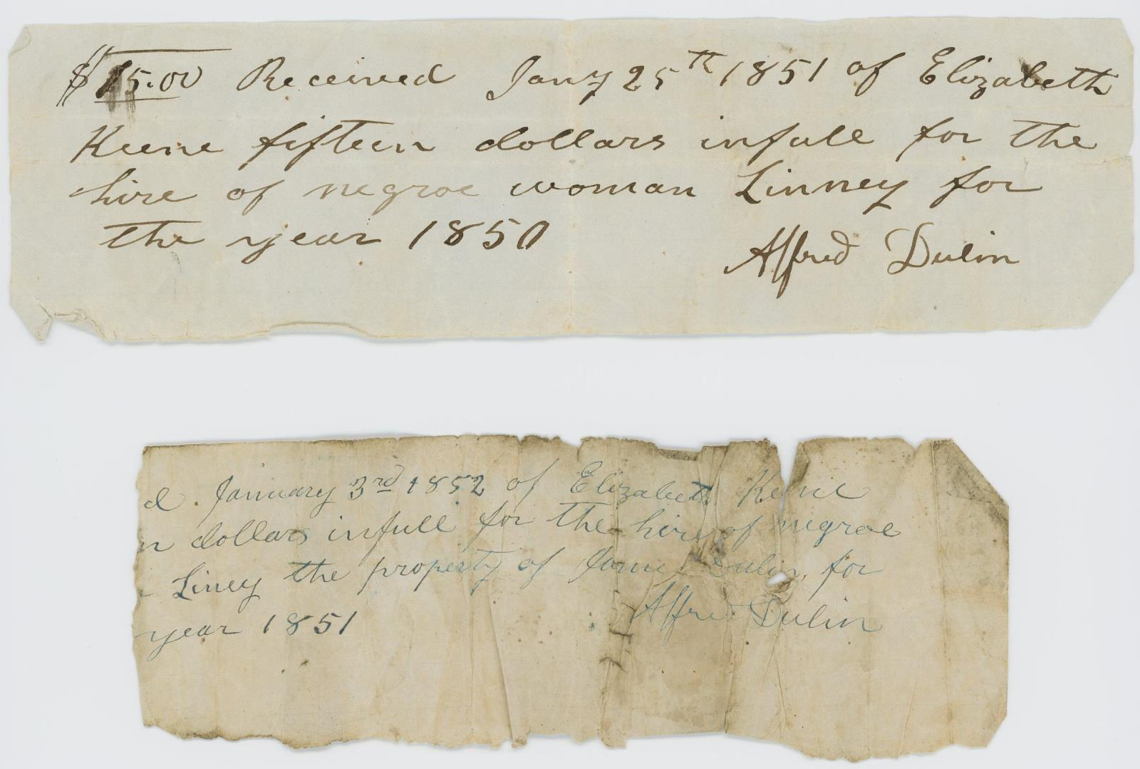 Slave Lease Receipts and Promissory Notes, 1851-1852