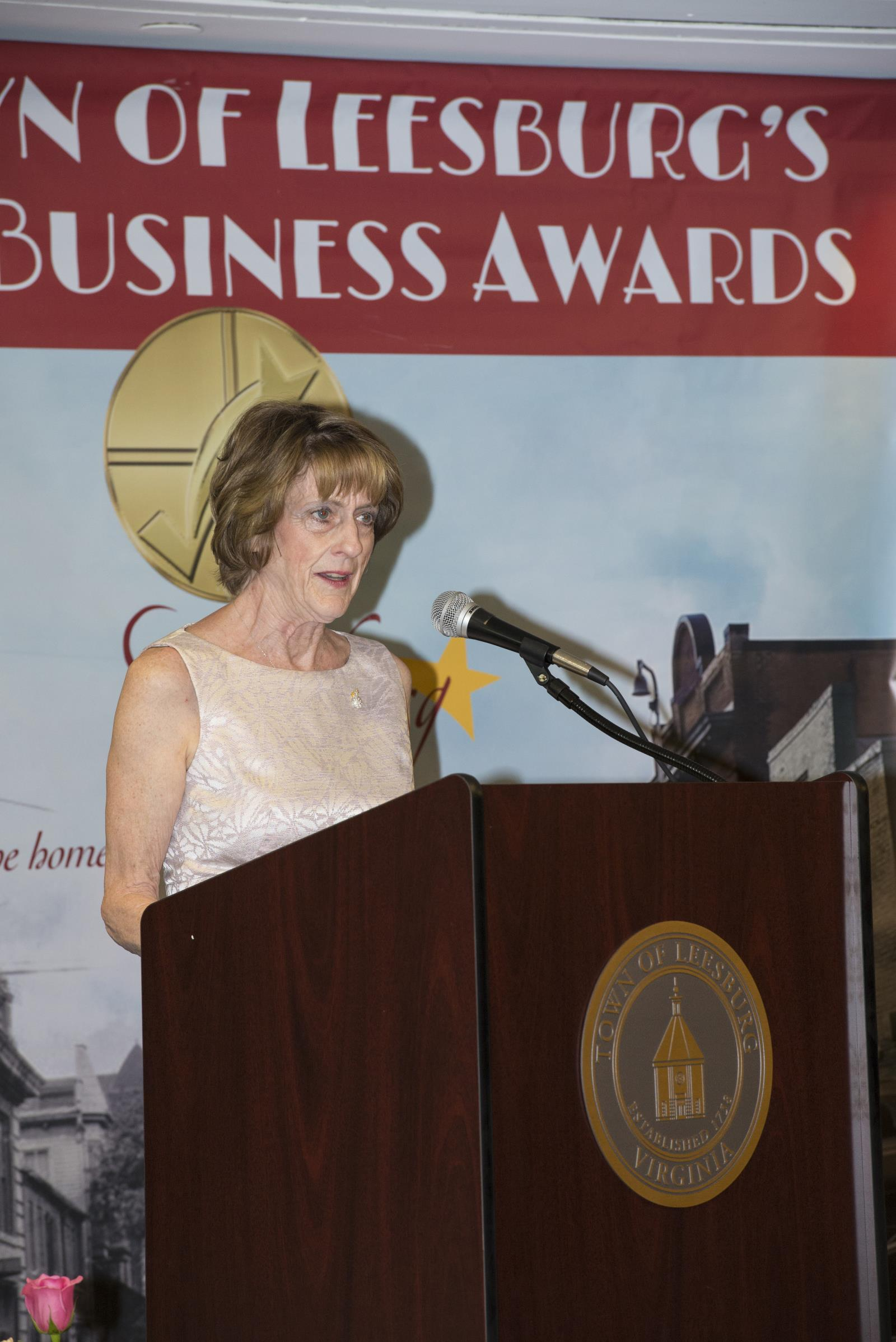 Mayor Kelly Burk speaks at the 2017 Leesburg Business Awards.