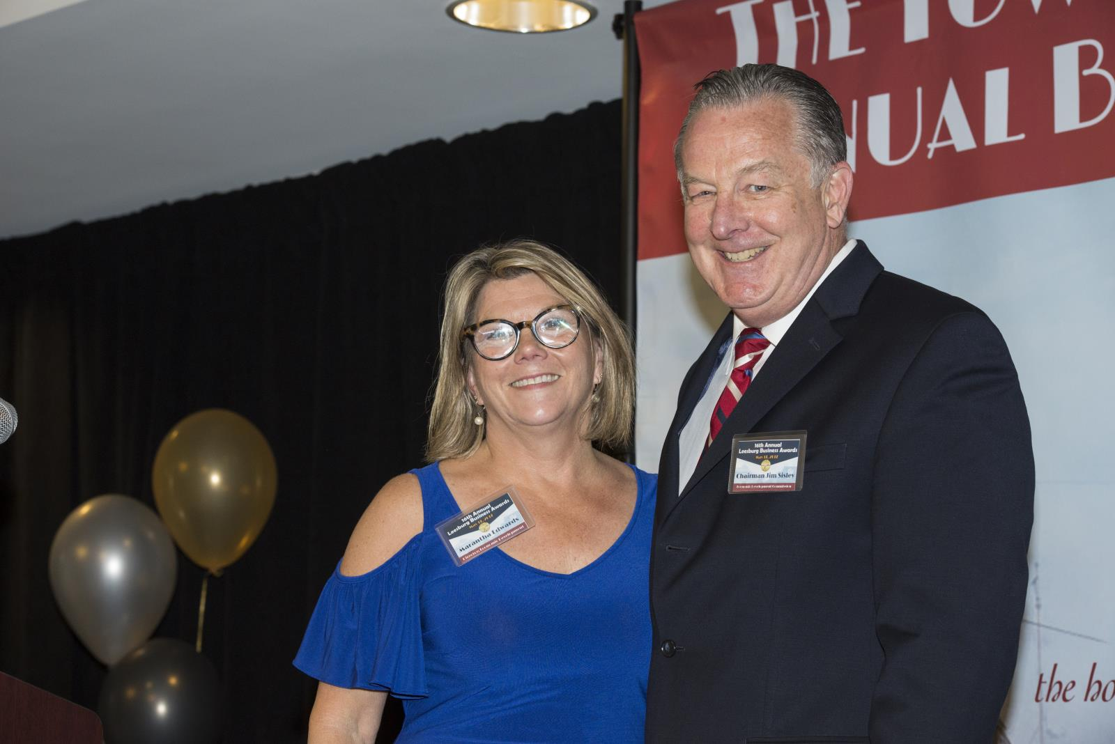 Marantha Edwards and Jim Sisley at the 2017 Leesburg Business Awards.