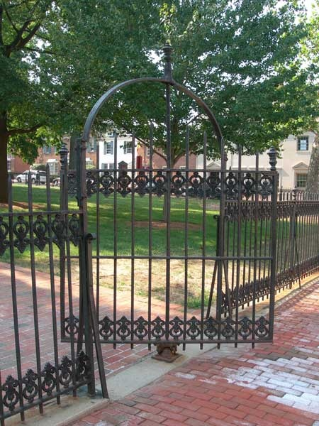 Wrought iron gate in front of the Loudoun County Courthouse
