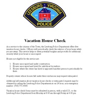 LPD Vacation House Check Form Image