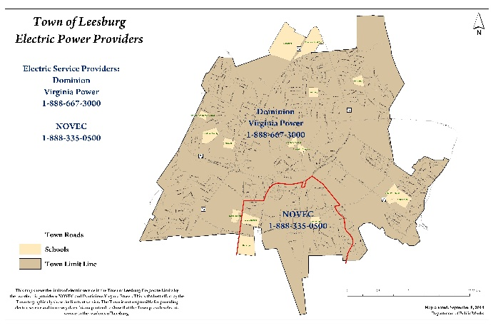 Map of electric service providers in Leesburg