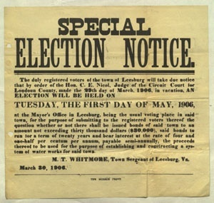 Leesburg Special Election Notice 1906